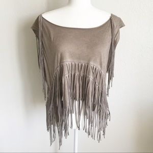 ALL SAINTS Boho Beige Fringe Top